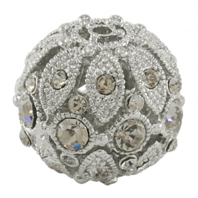 Сплав страз бусины, Класс А, вокруг, цвет серебристый металл, очистить, размер: около 23 мм в диаметре, отверстия...