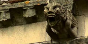'Alien' gargoyle on ancient abbey